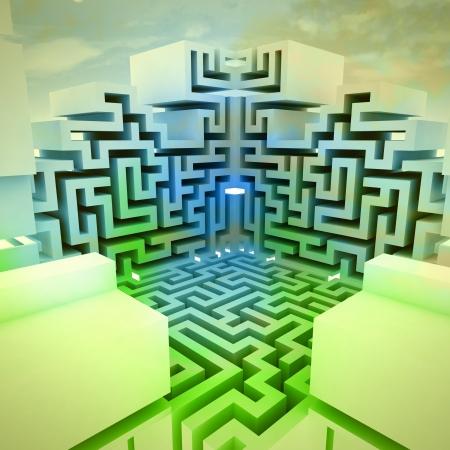 escape route: green blue alight maze structure concept illustration