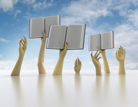 succes: arms holding books on blue cloudy sky background illustration Stock Photo