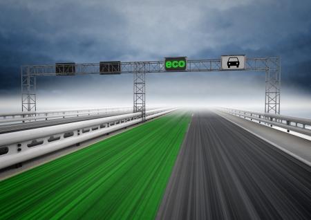 faster: left green eco faster track on highway illustration