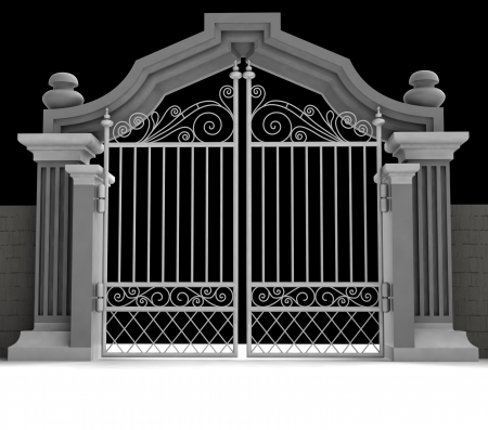 heavens gates: cemetery gate with metallic fence in midnight illustration