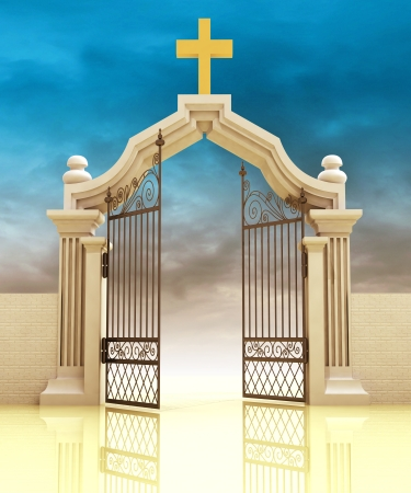 funeral: opened entrance to Gods paradise in sky illustration Stock Photo