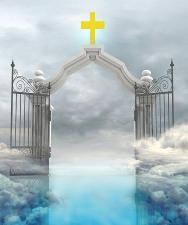himlen: öppnade entré till gudar paradis i himlen illustration Stockfoto