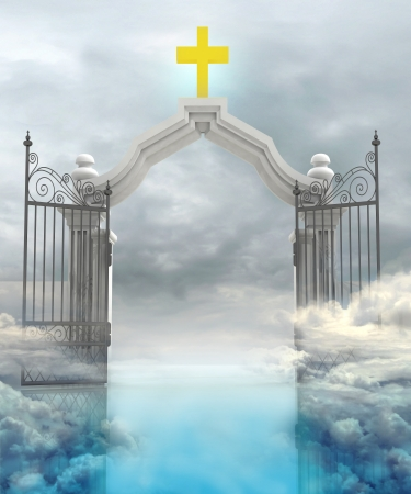 paradise: opened entrance to Gods paradise in sky illustration Stock Photo