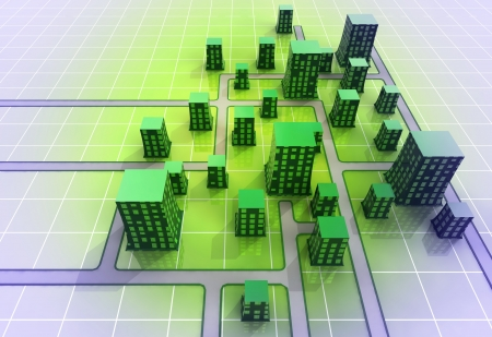 alighted: green center alighted ortogonal city structure concept illustration