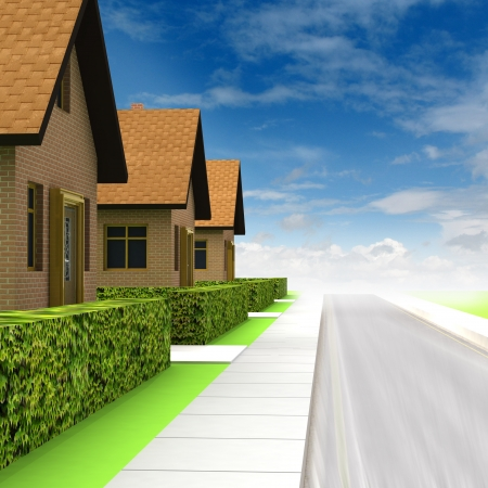 vicinity: street vicinity with new houses and sky illustration Stock Photo