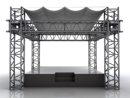 empty podium with plastic roof front view perspective illustration illustration