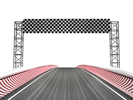 race track: racing circuit finish line horizont illustration Stock Photo