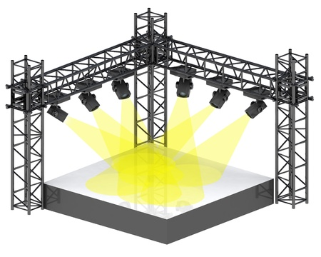 isolated festival stage with yellow spotlights illustration illustration