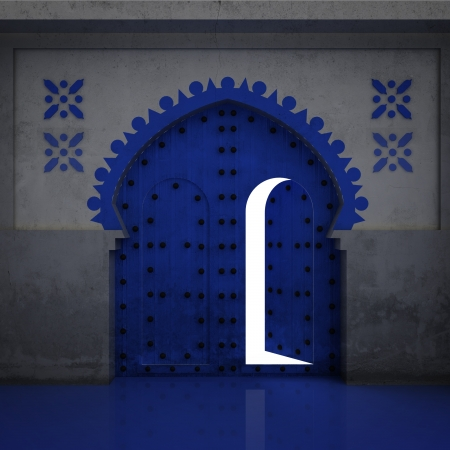 timbered: islamic opened blue decorated doorway illustration