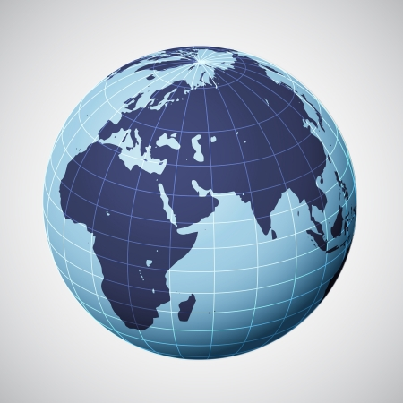 vector world globe in blue focused on europe illustration Illustration