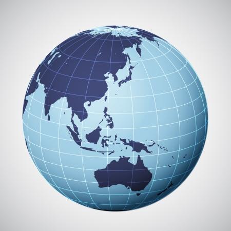 összpontosított: vektor, világ, földgolyó, kék összpontosított ázsia illusztráció