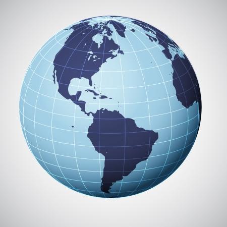 összpontosított: vector world globe in blue focused on america illustration