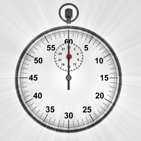 front view on stopwatch with shiny flare illustration illustration