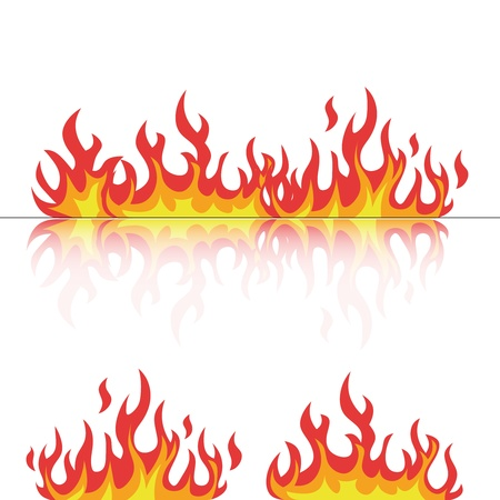 flames set with reflection on white vector illustration Vector