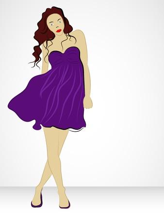 transparent dress: nice violet dressed girl in wind vector illustration