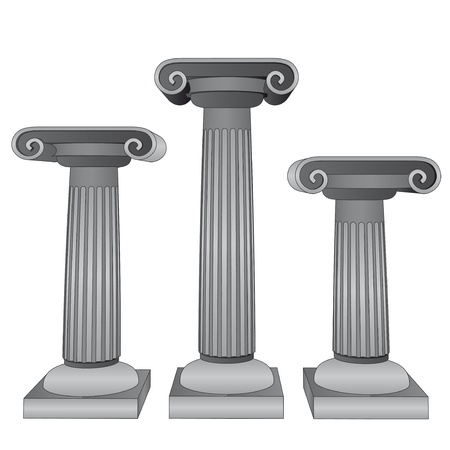 three ionic marble columns vector illustration