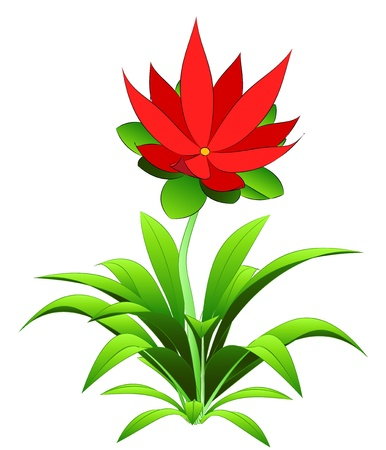 six objects: nice red blossom on flower top vector illustration