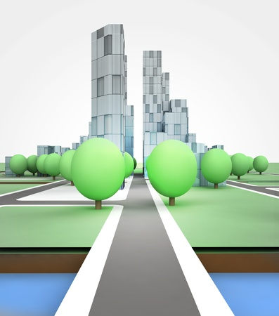 city road in office building on white background illustration illustration