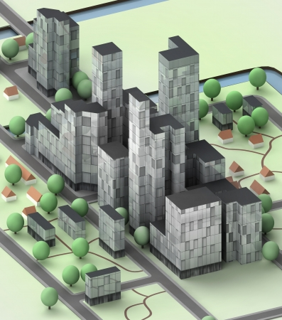cityscape with office buildings development illustration Stock Photo