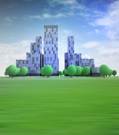 alternative living: blue cityscape with office buildings in heaven illustration Stock Photo