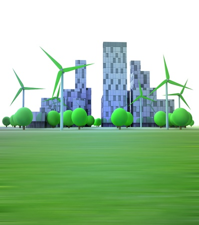 cityscape with office buildings and wind turbines illustration Stock Photo