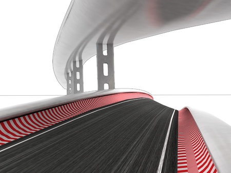 viaduct: two race roads on white background illustration
