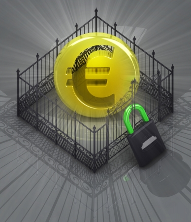 baroque gate: euro coin in padlock locked fence concept illustration Stock Photo