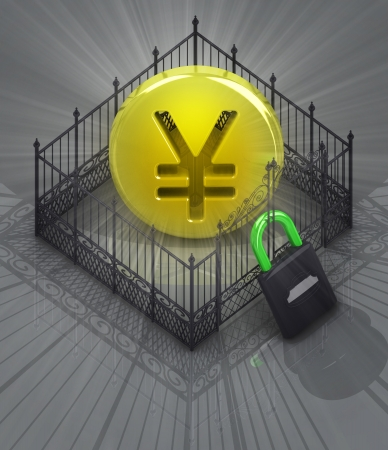 baroque gate: yen coin in padlock closed fence concept illustration Stock Photo