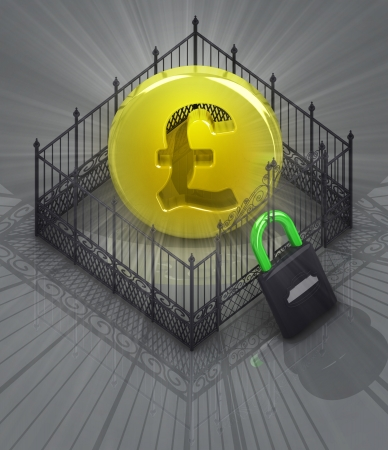 baroque gate: pound coin in padlock locked fence concept illustration Stock Photo