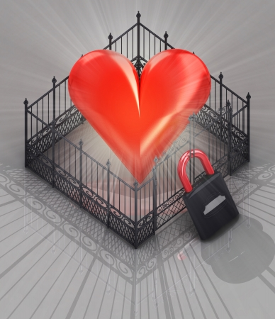 baroque gate: red heart fence with padlock locked concept illustration
