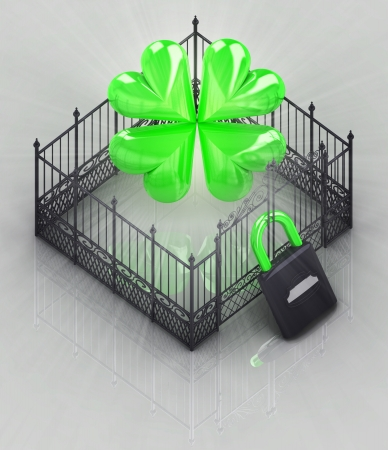 protect your happines in padlock closed fence concept illustration illustration