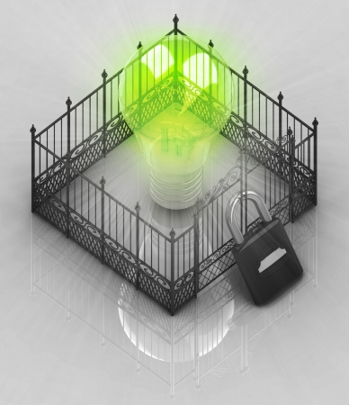 somebody: green bulb light with padlock closed fence concept illustration