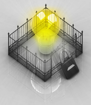 somebody: yellow bulb light with padlock closed fence concept illustration Stock Photo