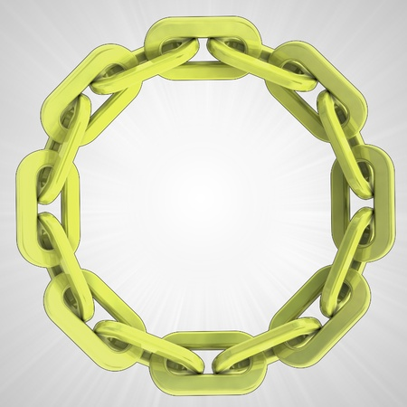 golden strong chain circle in top view illustration illustration