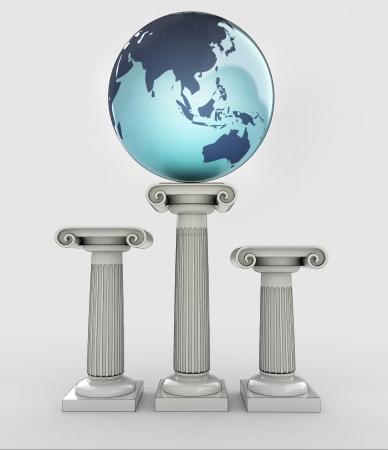 asia travel, earth globe on ancient column illustration illustration