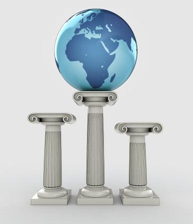 africa travel, earth globe ancient column illustration illustration