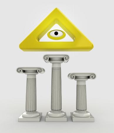godness: religion concept with god eye sign on column illustration