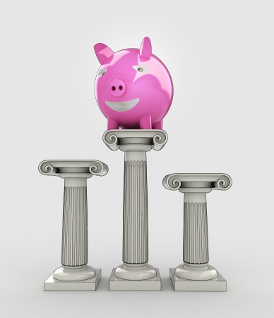 pillar box: best value of your money concept with pig illustration