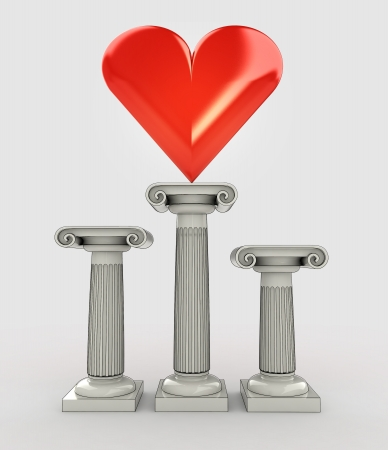 hearth: love concept with red hearth on column illustration