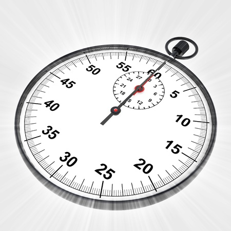 perspective view on stopwatch with shiny flare illustration illustration