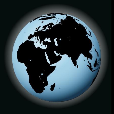 összpontosított: vektor, világ, földgolyó fekete összpontosított Európa illusztráció