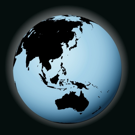 focused: vector world globe in black focused on asia illustration Illustration
