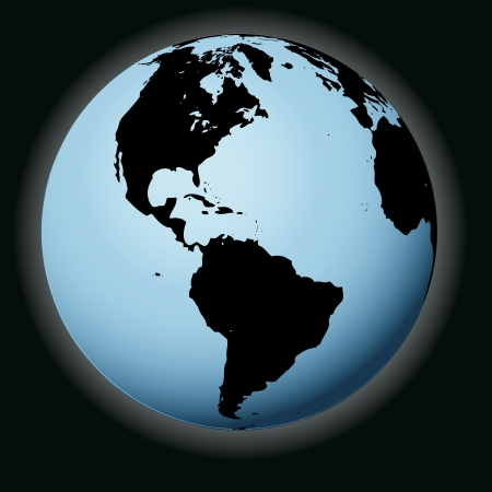 focused: vector world globe in black focused on america illustration Illustration