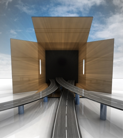 transported: transported carton box highway concept with blue sky illustration Stock Photo