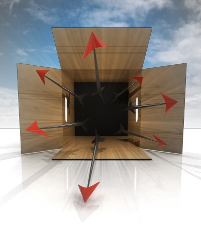 dangerous poisoned arrow trap in box with blue sky illustration
