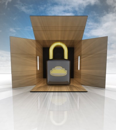 new security padlock in carton box with blue sky illustration illustration