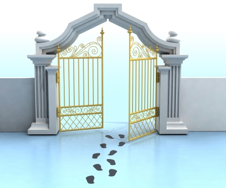 opened golden entrance with footprints illustration illustration