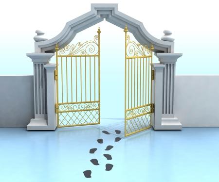 opened golden entrance with footprints illustration