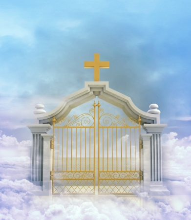 closed paradise entrance in sky illustration illustration