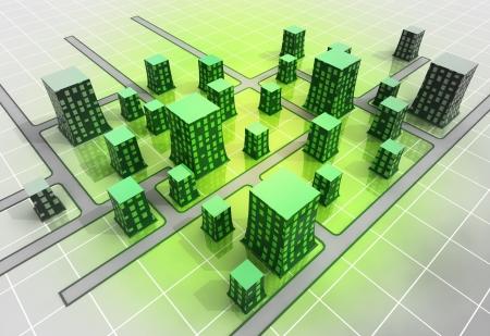 grid: green modern ortogonal city top perspective illustration Stock Photo